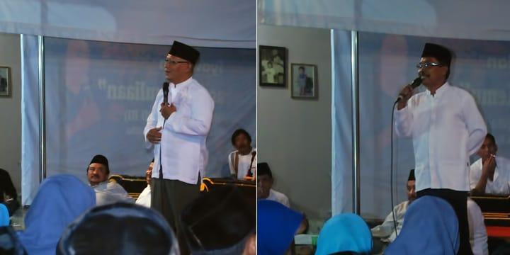 Dua tokoh Muhammadiyah dan NU Lampung Timur di Maiyah Dusun Ambengan.