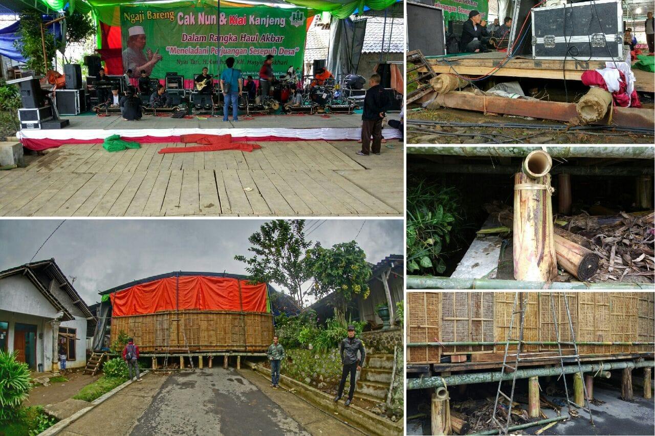 Panggung Dari Kayu, Bambu, dan Pohon Pisang