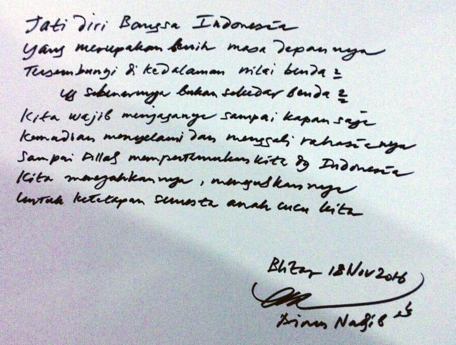 Tulisan Emha Ainun Nadjib di Blitar