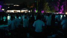 Perwakilan siswa, guru, dan alumni diajak naik panggung untuk memulai Sinau Bareng dengan lantunan Shohibu Baity.