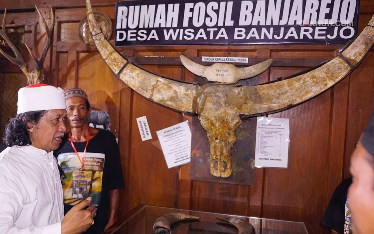 Cak Nun pun diajak melihat benda-benda purbakala di Rumah Fosil Banjarejo. Foto: Adin (Dok. Progress)