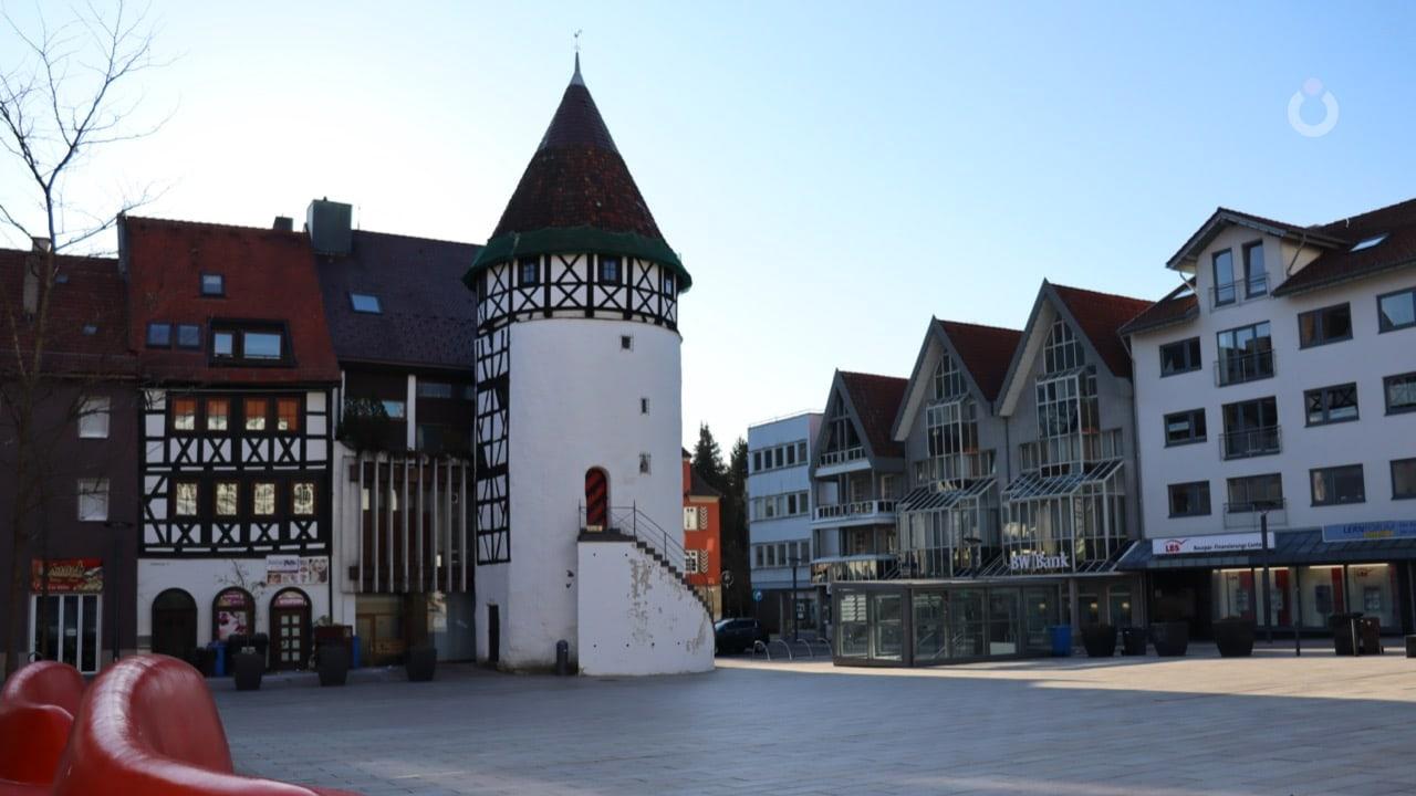 Suasana kota Albstadt, Zollernalbkreis, Baden-Württemberg, Jerman.