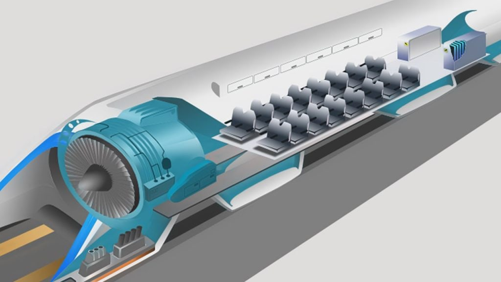 Concept art of Hyperloop inner works